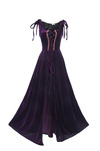 ROLECOS Womens Renaissance Irish Overdress Medieval Over Dress Pirate Costume Purple L/XL