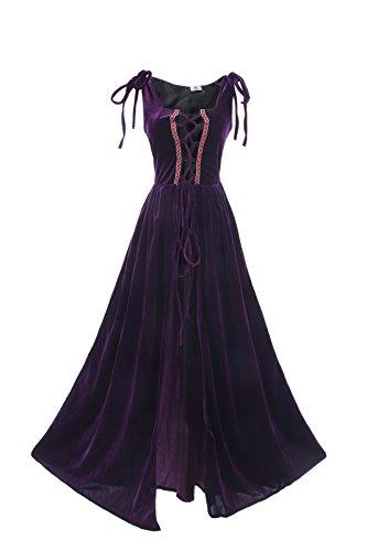 (ROLECOS Womens Renaissance Irish Overdress Medieval Over Dress Pirate Costume Purple L/XL)