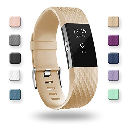 POY Replacement Bands Compatible for Fitbit Charge 2, Special Edition Adjustable Sport Wristbands, Small Tan