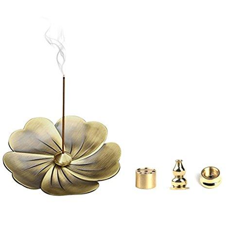 Alasida Bronze sakura Flower Incense Burner Holder and 4 Style Brass Incense Holder for Stick,Cone, Coil Incense Ash Catcher Incense Burner Gift Set