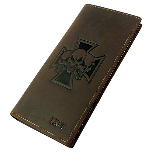 LXFF Mens Genuine Leather Long Bifold Wallet Checkbook Brown Vintage Skull ()