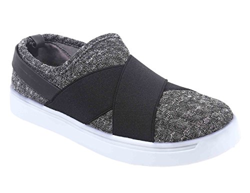 Causal Women Slip-on Criss Cross Lycra Sneakers Flats Shoes (7, Gray) ()
