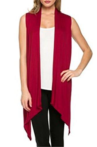 Knit Long Vest - Henwei Women's Sleeveless Draped Knit Cardigan Layering Long Vest Wine Red S