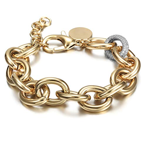 CIUNOFOR CZ Bracelet for Women Girls Wide Cuban Curb Link Bracelet Silver Rose Gold Plated 9.5 Inches Stainless Steel Chain with Round Disc Charm(Gold and White)