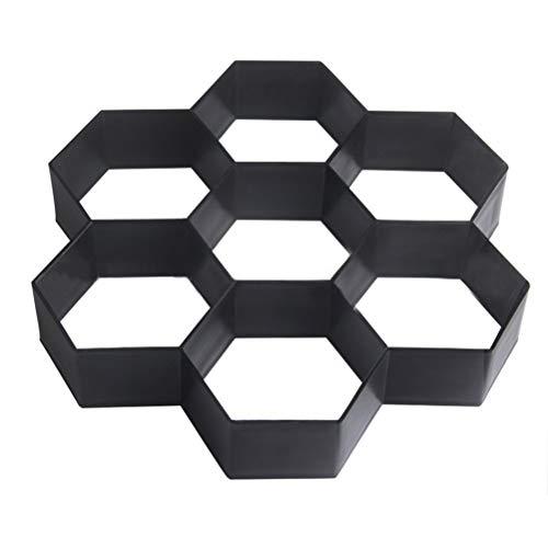Tile Brick Garden - Paving Molds - Plastic Diy Path Maker Mold Hexagon Manually Paving Cement Brick Molds Black - Paving Molds Concrete Steps Paving Molds Letter Tile Shape Brick Cement Mold Garden Pavement Co