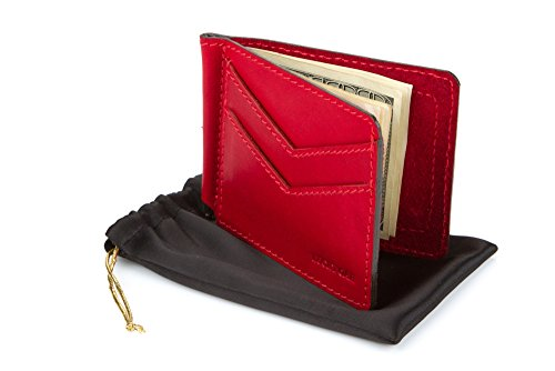 Slim Front Pocket Genuine Leather Money Clip, Minimalist RFID Card Holder Wallet (Red (Lucky Signs)
