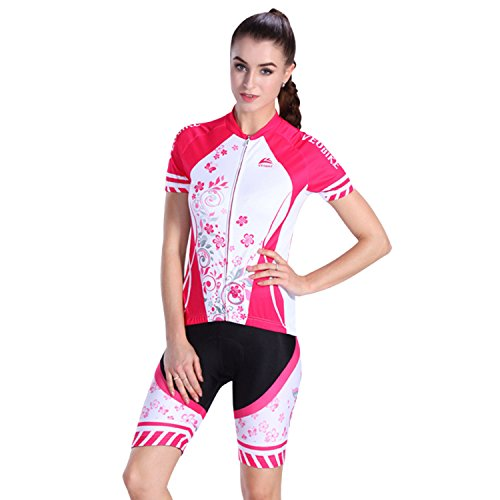 D&m Custom Cycle Support (SUNVP Short Sleeve Cycling Jersey with 3D Gel Padded Quick Dry Outfits Bicycle Sportswear Tops For Road Bike Climbing Racing Women (Pink flowers/White/M))