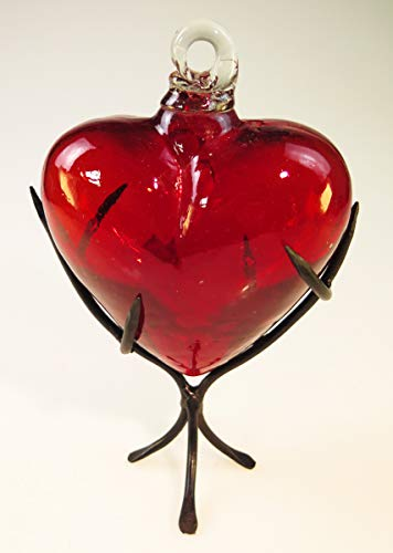 Mexican Glass Heart 6 Inches with Thorn Display Rack from Mexican Glass