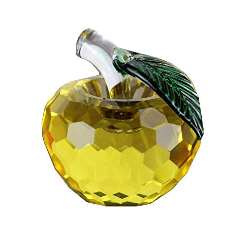 Haomao Yellow Crystal Apple Paperweight Pretty Craft Art & Collection Gifts Christmas Home Decoration Wedding Table/car Ornaments 5CM (Color : Yellow, Size : 80mm)