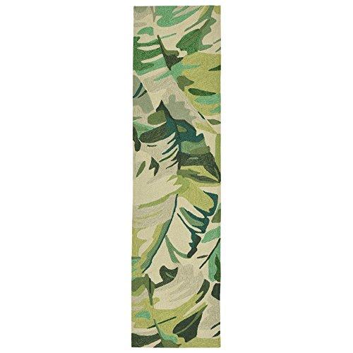 Liora Manne CAPR8166806 Capri Coastal Tropical Palm Leaf Indoor/Outdoor Runner Rug Palm Leaf Green 2' X 8' ()