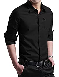 "<span class=""a-offscreen"">[Sponsored]</span>Men's Military Slim Fit Dress Shirt Casual Long Sleeve Button Down Dress Shirts"