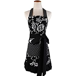Women's Apron with 2 Pockets-Extra Long Ties, Home Baking or Kitchen Cooking, Graceful and Flirty, Black Style-3-Leeotia