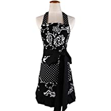 Cotton Fabric Women's Apron with 2 Pockets-Extra Long Ties, Home Baking or Kitchen Cooking, Graceful and Flirty, Black Style-3-Leeotia