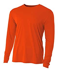 A4 Men's Cooling Performance Crew Long Sleeve, Athletic Orange, Small