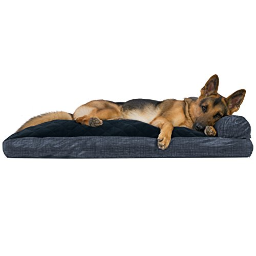 FurHaven Pet Dog Bed | Quilted Fleece & Print Suede Chaise Lounge Pillow Sofa-Style Pet Bed for Dogs & Cats, Dark Blue, Jumbo ()