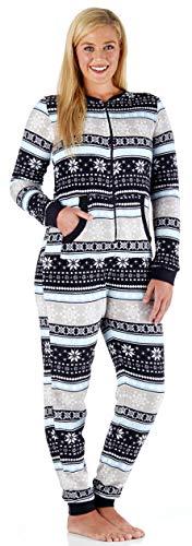 PajamaMania Women's Sleepwear Plush Fleece Non-Footed Onesie Pajamas Fairisle (PMPFR1018-2016-XL)