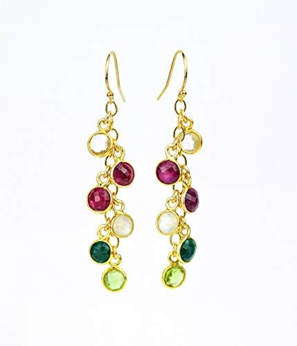 Custom Birthstone earrings, dangle long earrings, drop earrings, birthday gifts for mom, grandmother gift, mother earrings, Mothers day gift