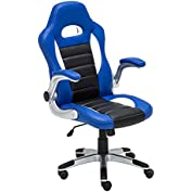 Tenive Pu Leather Ergonomic Racing Style Gaming Chair Home Office Executive Computer desk chair, Black & Blue