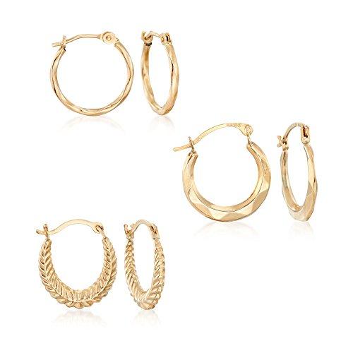 Ross-Simons 14kt Yellow Gold Jewelry Set: Three Pairs Of Huggie Hoop Earrings