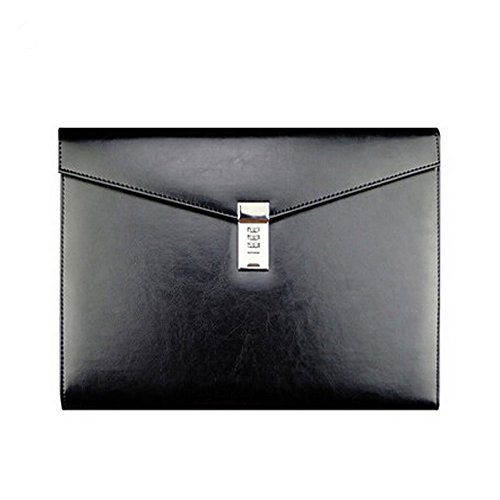 A4 Leather Password Lock Document Bag Manager File Folder for Office Writing Pads Legal Paper TPN086(Black) ()