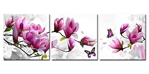 Canvas Print Wall Art Paintings For Home Decor Magnolia Flowers In Red And White Butterfly 3 Pieces Panel Painting Modern Giclee Framed Artwork The Pictures For Living Room Decoration Prints On Canvas (Canvas Butterfly Wall)