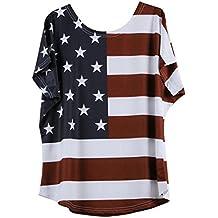 Inverlee Plus Size Women Fashion Loose Blouse Star Stripe USA Flag America 4th of July T-Shirt