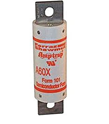 """Mersen A60X Amp-Trap Form 101 Semiconductor Protection Fuse with Bolt-In Blade Mount, 600VAC, 100kA AC, 200 Ampere, 1-7/32"""" Diameter x 4-13/32"""" Length"""