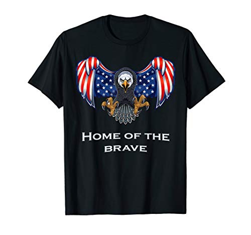 American Eagle 4th of July Patriotic Home of the Brave USA T-Shirt -