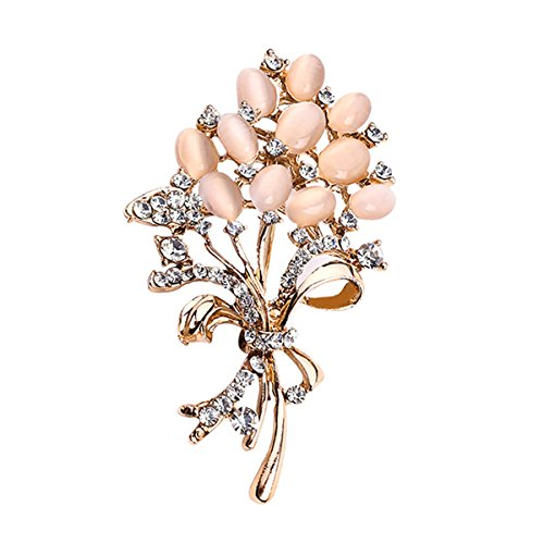 Rose Brooch Gold (Ailer Floral Brooch Wedding Flower Bouquets with Shiny Created Cat's Eye Brooches Pins for Women-Rose Gold)