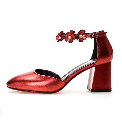 da Pelle Alti Tacchi Quadrato rosso Tacco Alla Donna Moda Fibbie Fiore da Donna DKFJKI Sandali in Selvatici nzBwSzdx