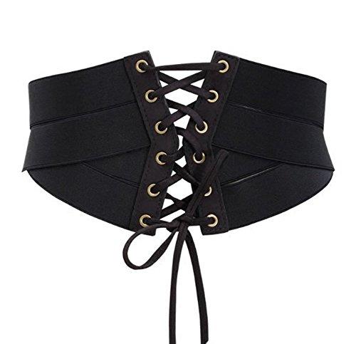 Aecibzo Womens Elastic Stretch Wide Band Waspie Corset Waist Belt