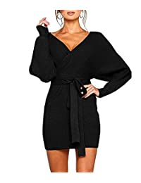 BIUBIU Womens Bodycon Sweater Dresses Hollow Out Crew Neck Long Batwing Sleeves Belted Mini Sexy Party Dress