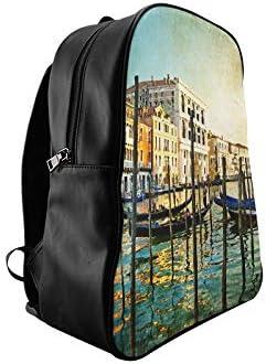 Amazing Venice Artwork Painting Style Fashion Work Bag Girls Bookbags Womens Bookbag Print Zipper Students Unisex Adult Teens Gift