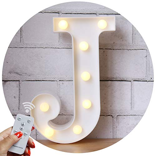 Alphabet Lamp (Elnsivo LED Marquee Letter Lights 26 Alphabet Light Up Name Sign Remote Control Letter Lamp for Wedding Birthday Party Battery Powered Christmas Lamp Home Bar Decoration (Letter J-Remote Control))