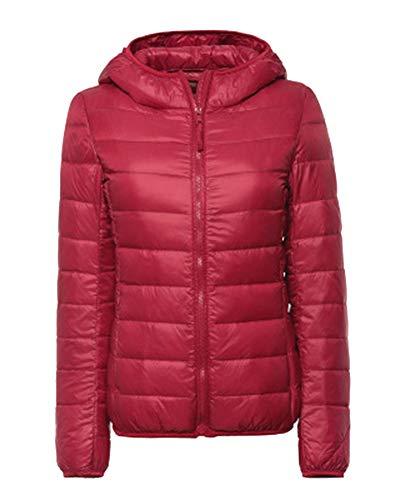 Femme Grande Taille  Capuchon Doudoune Manteau Hiver Slim Fit Warm Quilting Blouson Coat Rouge
