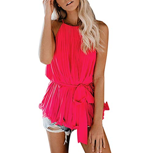 ( LuluZanm Chiffon Tank Tops for Women,Sale Ladies Summer Sleeveless Crop Blouse Lace Camisole Casual Vest Shirts Hot Pink)