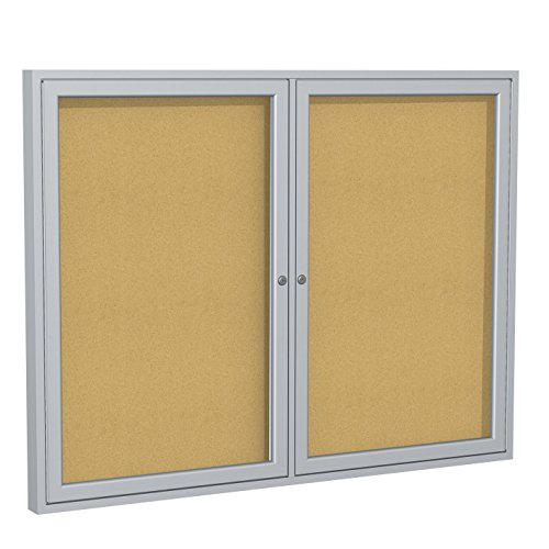 """Ghent 36""""x48"""" 2-Door Satin Aluminum Frame Enclosed Bulletin Board, Natural Cork, Made in the USA"""