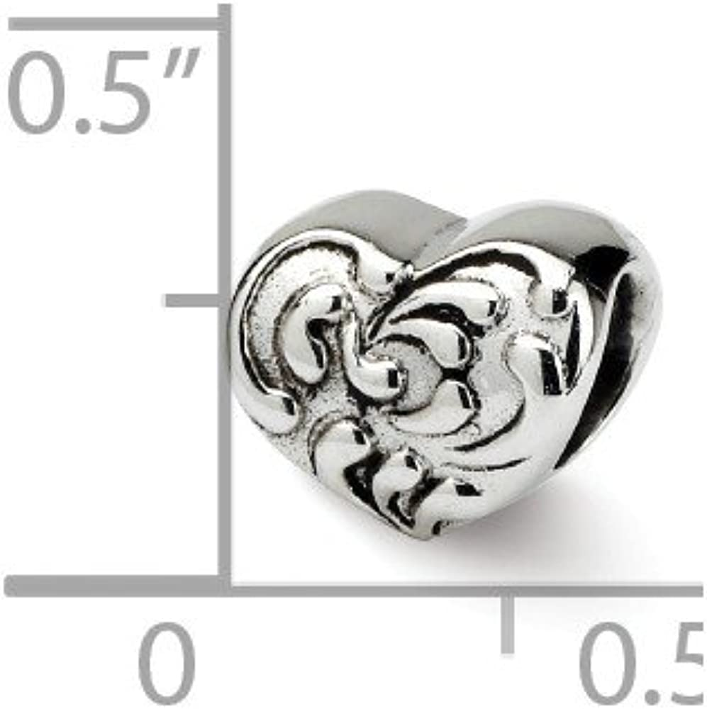 Bead Charm White Sterling Silver Themed 7.27 mm 8.18 Reflections Scroll Heart