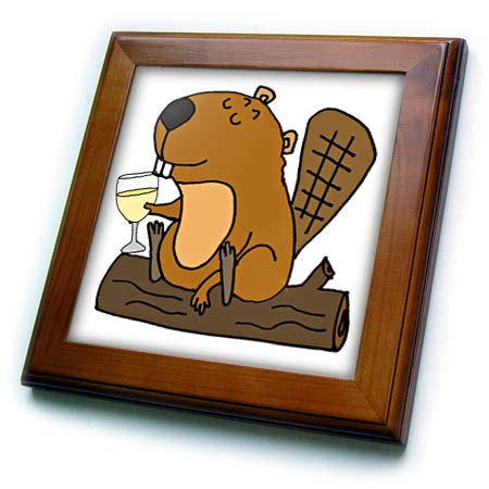 - 3dRose All Smiles Art - Animals - Cool Funny Beaver Drinking White Wine Cartoon - 8x8 Framed Tile (ft_309113_1)