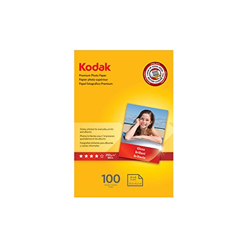 "Kodak Premium Photo Paper for inkjet printers, Gloss Finish, 8.5 mil thickness, 100 sheets, 4"" x 6"" ()"