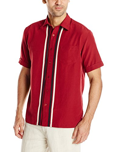 Cubavera Men's Short Sleeve Tri Color Panel With Pickstich Woven Shirt, Biking Red, Medium