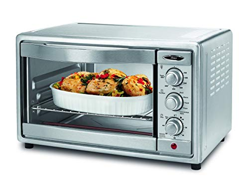 Oster Convection Toaster Oven, 6 Slice, Brushed Stainless Steel (TSSTTVRB04) (Renewed) (Oster 6 Slice Toaster Oven)