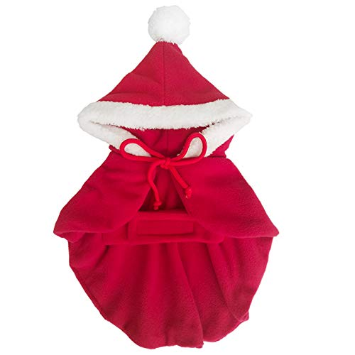 (YOLSUN Miss Santa Costume for Pet, Little Dog/Cat Santa Costume Cloak, Santa Claus Cape with Hood (Miss Santa L,)