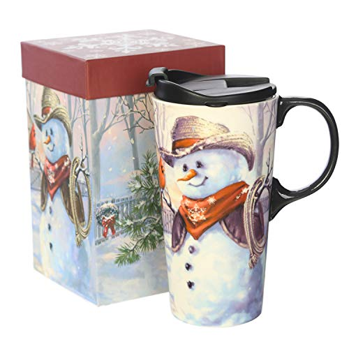 (CEDAR HOME Coffee Ceramic Mug Porcelain Latte Tea Cup With Lid in Gift Box 17oz. Cowboy Snowman)