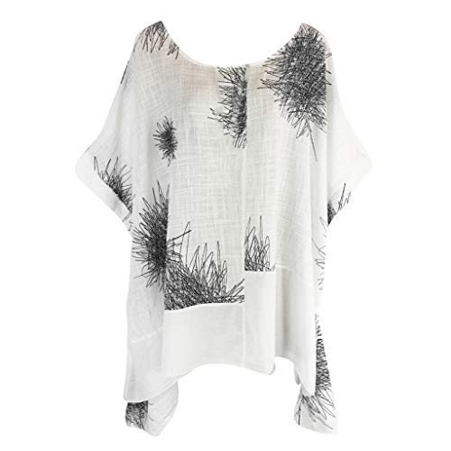 Brown Frontier Leather Harness - Plus Size Women Vintage Tops Summer Print Irregular Hem Short Sleeve Baggy Oversize Batwing Tunic T-Shirt Blouse White