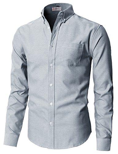 H2H Men's 100% Cotton Long Sleeve Button Down Collar Oxford Shirt Navy US L/Asia XL (KMTSTL0521)