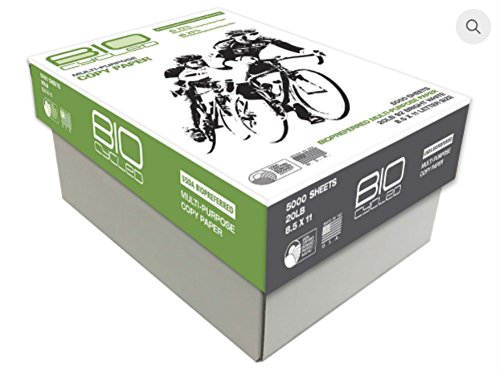 BioCycled Multi-Purpose Copy Paper (10 Ream Case) - 5000 Sheets, 20LB, 92 Bright White, 8.5 x 11 Standard Letter Size by BioFiber Solutions International