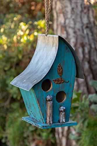 Alpine Corporation YEN134HH-BL Artful Wooden Birdhouse, 12 Inch Tall, Blue