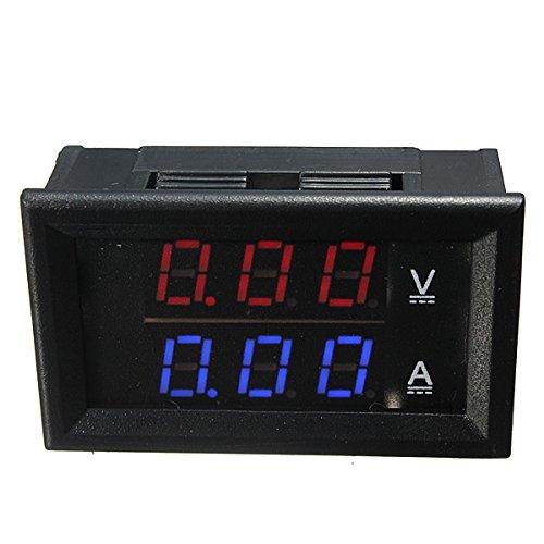 FeLiCia Dual Red Blue LED Digital Volt Meterr Ammeter Panel Volt Gauge Meter:
