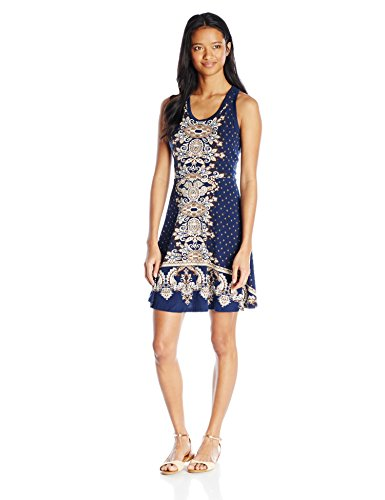 Angie-Womens-Navy-Printed-Racerback-Fit-and-Flare-Dress
